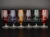 Набор фужеров для шампанского 330 мл Цветной хрусталь (6 шт)