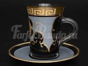 """Набор для чая """"Костка Глава"""" R-G черный фон на 6 перс. 12 пред."""