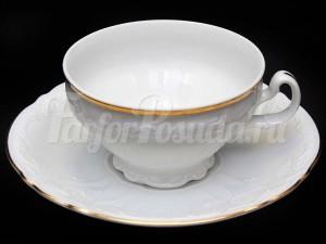 """Набор чайный """"Бернадотте белый"""" 6чашек+6блюдец 205мл. низ. на ножке"""