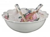 """Салатник 25,5 см с раскладочными вилкой и ложкой """"Флора"""""""