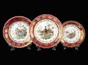 """Набор тарелок для сервировки стола 18 пред. """"Охота  Красная"""" ФР"""