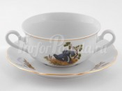 "Чашка для супа с блюдц. 2 руч. 350 мл ""Охота Мэри-Энн"" Leander"