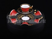 "Набор для чая ""Медуза красная"" (чашка220мл.+блюдце) на 6перс.12пред."