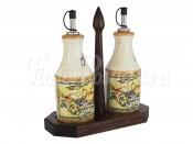 """Набор из 2-х бутылок для масла и уксуса 275 мл на подставке """"Старая Тоскана"""""""