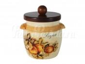 """Банка для сыпучих продуктов 750 мл с деревянной крышкой """"Зимние яблоки"""" сахар"""