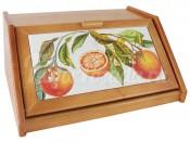 """Деревянная хлебница 40 см с керамическими вставками """"Апельсины"""""""