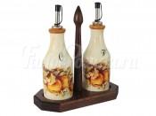 """Набор бутылок для масла и уксуса 275 мл 2 шт. на подставке """"Зимние яблоки"""""""