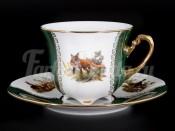 "Набор для чая ""Охота Зеленая Барокко"" на 6 перс. 12 пред."