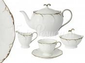 """Сервиз чайный на 6 перс. 17 пред. """"Белый с золотом"""""""