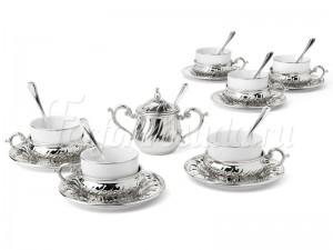 """Набор для чая 150 мл на 6 перс. 19 пред. """"Stradivari"""" серебро"""