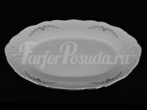 """Блюдо овальное 32 см """"Серый орнамент отводка платина"""" LI 007"""