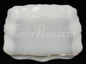 Салатник квадратный 26 см Белый узор Корона