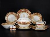 Столовый сервиз на 6 персон 27 предметов Alena 3D Bordeaux Gold