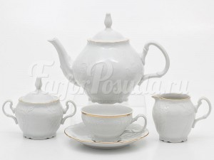 """Сервиз чайный """"Бернадот белый"""" на 6 перс. 15 пред."""