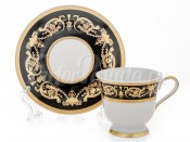 "Набор для кофе ""Александрия Блэк зол.""(чашка 100мл.+12см. блюдце) на 6 пер. 12 пред."