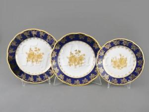 "Набор тарелок на 6 перс. 18 пред. ""Кобальт золотая роза Мэри-Энн"" Leander"