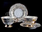 """Набор для чая """"Лист белый"""" (чашка+блюдце) на 6перс.12пред."""