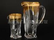 """Набор 7 пред. """"Драхма"""" амбер Квадро кувшин 1,1 л и 6 стаканов 350 мл"""