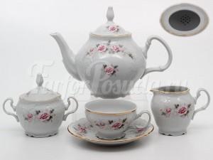 """Сервиз чайный """"Роза серая"""" на 6 перс. 15 пред."""