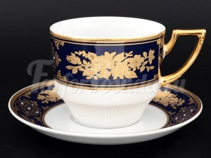 "Набор для чая 220 мл ""Золотая роза Кобальт"" Луиза на 6 перс. 12 пред."