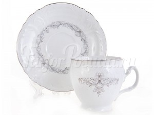 "Набор для чая 240 мл ""Тонкое кружево"" Бернадотт на 6 перс. 12 пред."