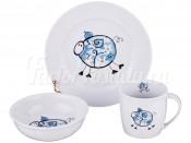 """Набор посуды для детей 3 пред. """"Свинки"""" голубой"""