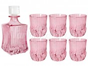 "Набор 7 пред. ""Адажио"" розовая штоф 600 мл и 6 стаканов 300 мл"