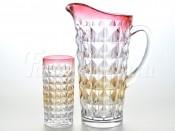 """Набор 7 пред. """"Аллегория"""" красная Даймонд кувшин 1,25 л и 6 стаканов 260 мл"""