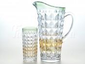 """Набор 7 пред. """"Аллегория"""" зеленая Даймонд кувшин 1,25 л и 6 стаканов 260 мл"""