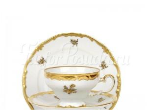 """Сервиз чайный  """"Роза Золотая 1007"""" на 6 перс.12 пред."""