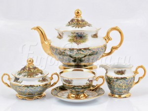 """Сервиз чайный """"Охота Зеленая"""" на 6 перс. 17 пред."""