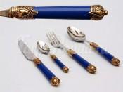 """Набор столовых приборов Бугатти """"Rinascimento"""" синие золото 24 предмета"""