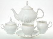 Чайный сервиз на 6 персон 17 предметов Бернадотт Белый узор (бочка)