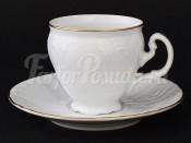 """Набор для чая """"Бернадот белый"""" (чашка 90 мл. блюдце) низкие на ножке"""