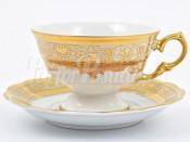 """Набор для чая 240 мл """"Крем золото"""" на 6 перс. 12 пред."""