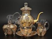 Чайный сервиз хрусталь с золотом на 6 персон 15 предметов