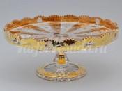 Блюда для торта 30.5 см. на ножке хрусталь с золотом