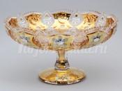 Ваза для фруктов 33 см. на ноге хрусталь с золотом