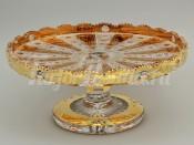 Блюдо для торта 35.5 см. на ноге хрусталь с золотом
