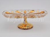 Рулетница 35 см на ножке хрусталь с золотом