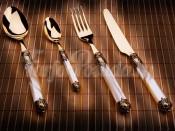 "Набор столовых приборов Бугатти ""Rinascimento Ivory Gold"" 24 предмета на 6 персон золото"