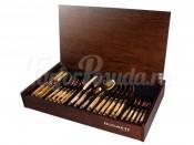"""Набор столовых приборов Бугатти """"Rinascimento Ivory Gold"""" 24 предмета на 6 персон золото в подарочной упаковке"""
