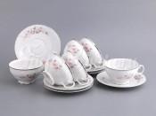 """Набор для чая """"Роза серая платина"""" чашка 155 мл. и блюдце на 6 персон 12 предметов"""