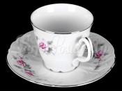 """Набор для чая """"Роза серая платина"""" чашка 210 мл и блюдце на 6 персон 12 предметов"""