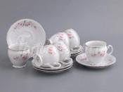 """Набор для чая """"Роза серая платина"""" чашка 240 мл и блюдце на 6 персон 12 предметов"""