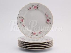 """Набор пирожковых тарелок 17 см 6 шт. """"Бернадотте Роза серая""""."""