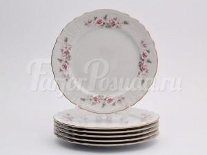 """Набор закусочных  тарелок 21 см 6 шт. """"Бернадотте Серая роза""""."""