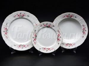 "Набор тарелок для сервировки стола ""Роза серая"" 18шт."