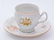 """Набор для чая """"Бернадотт 23011"""" чашка 160 мл. и блюдце на 6 персон 12 предметов высокие на ножке"""