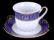 """Набор для чая """"Констанция синяя"""" чашка 155 мл. и блюдце на 6 персон 12 предметов высокие"""